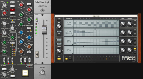 Screenshots of new UA-developed SSL 4000 E Channel Strip and Moog Multimode Filter plugin collections.