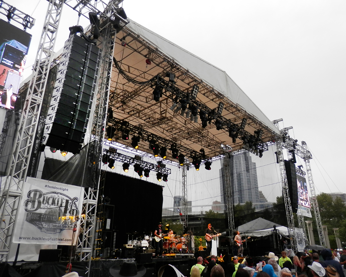 NEXO arrays flanking the main stage at the Buckle Up Festival in downtown Cincinnati several years ago. The editor was in attendance and didn't note the system tilt but did take the photo…